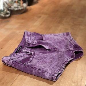 Neon Blonde: Bright Purple High Waisted Shorts 28W